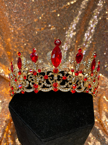 Gold crown with Red colored stones