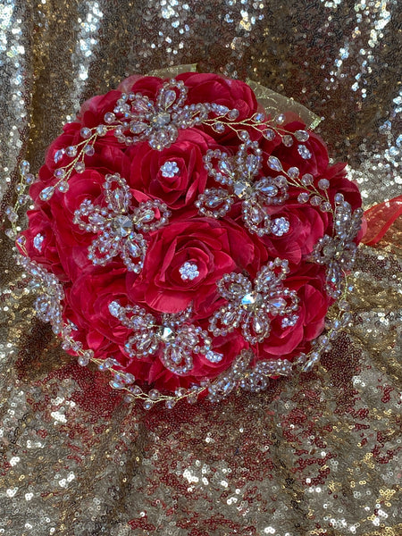 Red bouquet with gold accents