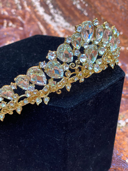 Gold crown with clear stones