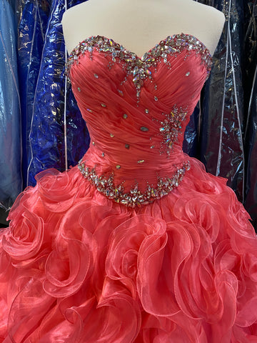 Coral colored Quinceañera/ Sweet 16 dress