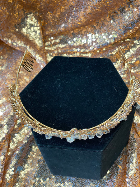 Gold Crown with clear stones and crystals
