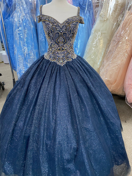 Navy blue sparkly off the shoulder Quinceañera, Sweet Sixteen, Debut dress