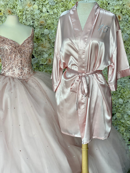 Pink Satin robe with silver details