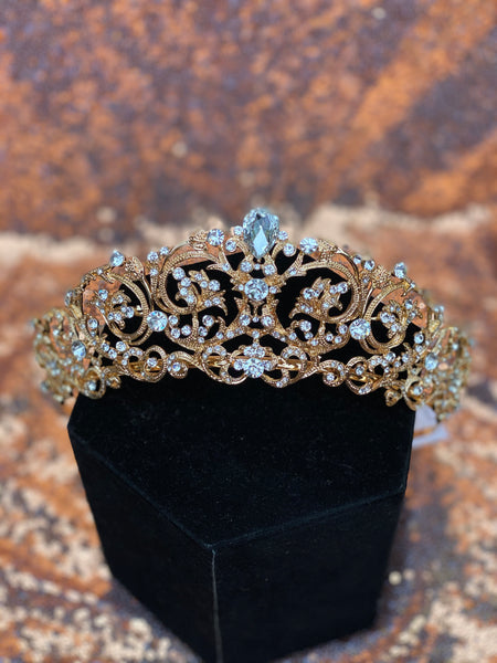 Tall Gold crown with Clear stones