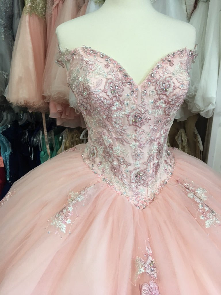 Blush and pink Quinceañera dress