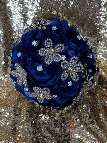 Navy blue and gold bouquet