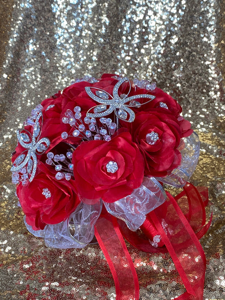 Red and silver Quinceañera bouquet/ramo