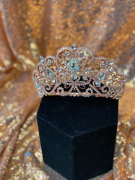 Tall Rose Gold crown with clear stones
