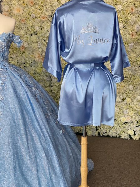 Blue Satin Robe with silver details