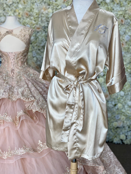 Champagne Satin robe with silver details