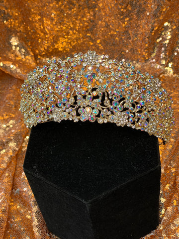 Tall Gold crown with iridescent stones