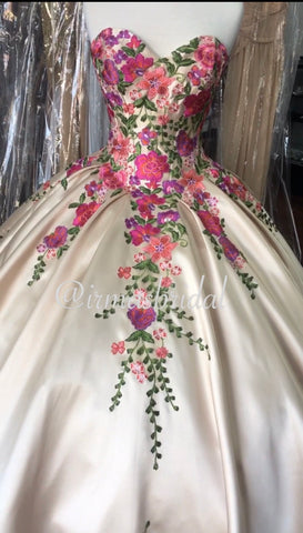 Champagne Quinceañera dress with colorful flowers. Works perfect for Charro, Mexican there or Enchanted forest.