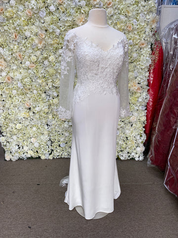 Off the shoulder long sleeve informal wedding gown with lace details