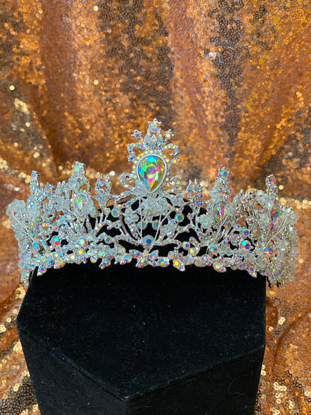 Tall Silver Crown with Iridescent stones and crystals
