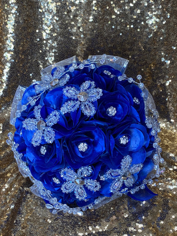 Royal blue and silver ramo