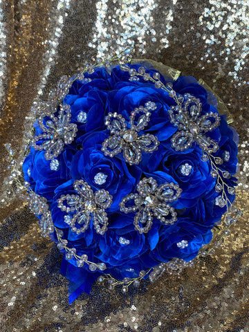 Royal blue and gold round ramo
