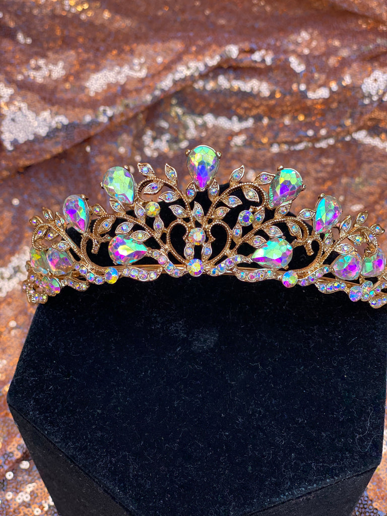Rose Gold crown with iridescent stones
