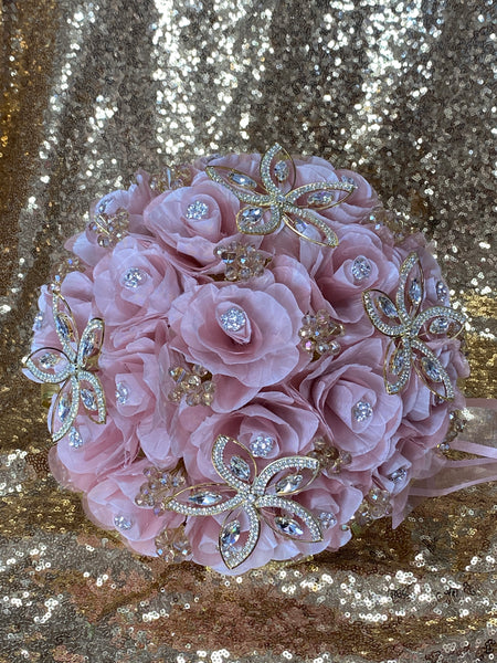 Blush/Rosegold and gold bouquet