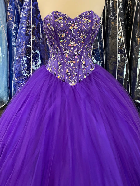 Purple Quinceañera strapless  dress
