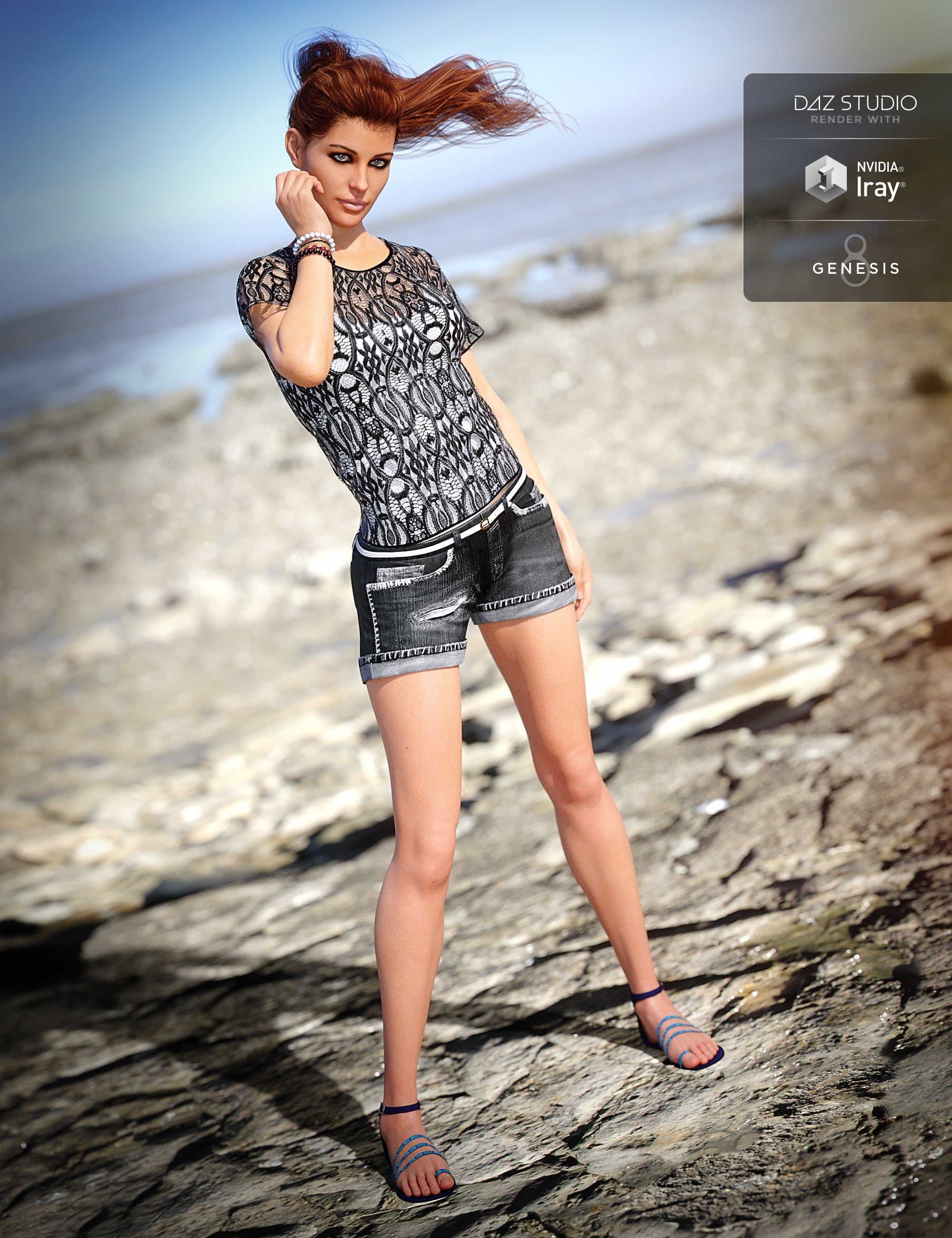 Boho Shorts Outfit for Genesis 8 Female(s)