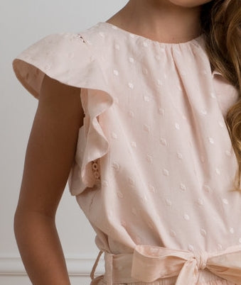 Embroidered Dot Top-Ice Pink