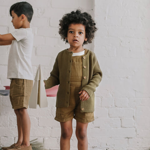 LAST ONE 18-24M | Henley Sweatshirt - Palm Tree Olive