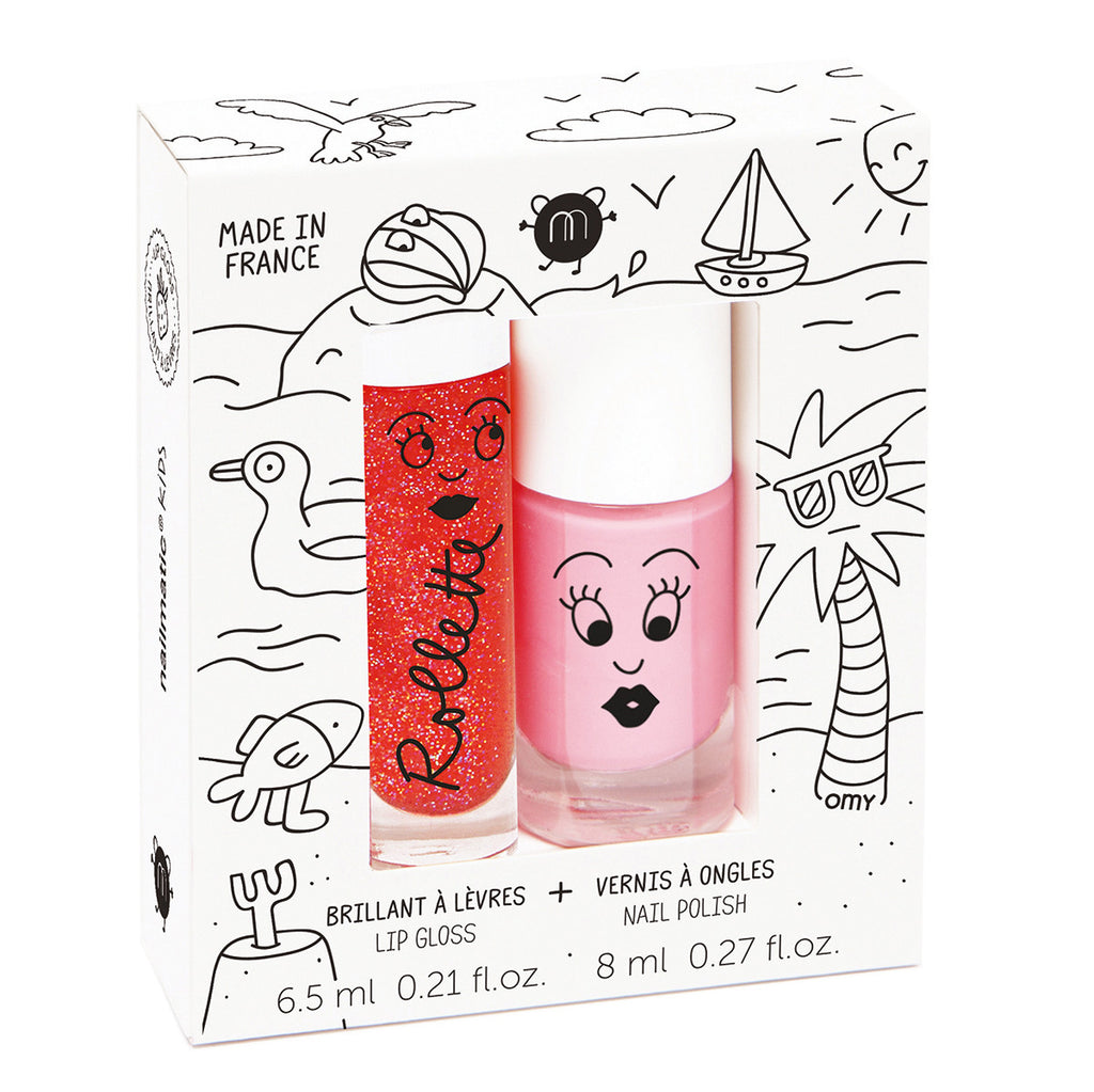 Kids Lip Gloss & Nail Polish Gift Pack - Holidays