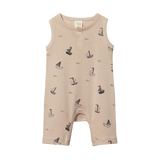 Nature Baby Henley Singlet Suit Boat Pond Print - Lila & Huxley