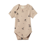 Short Sleeve Bodysuit Boat Pond Print