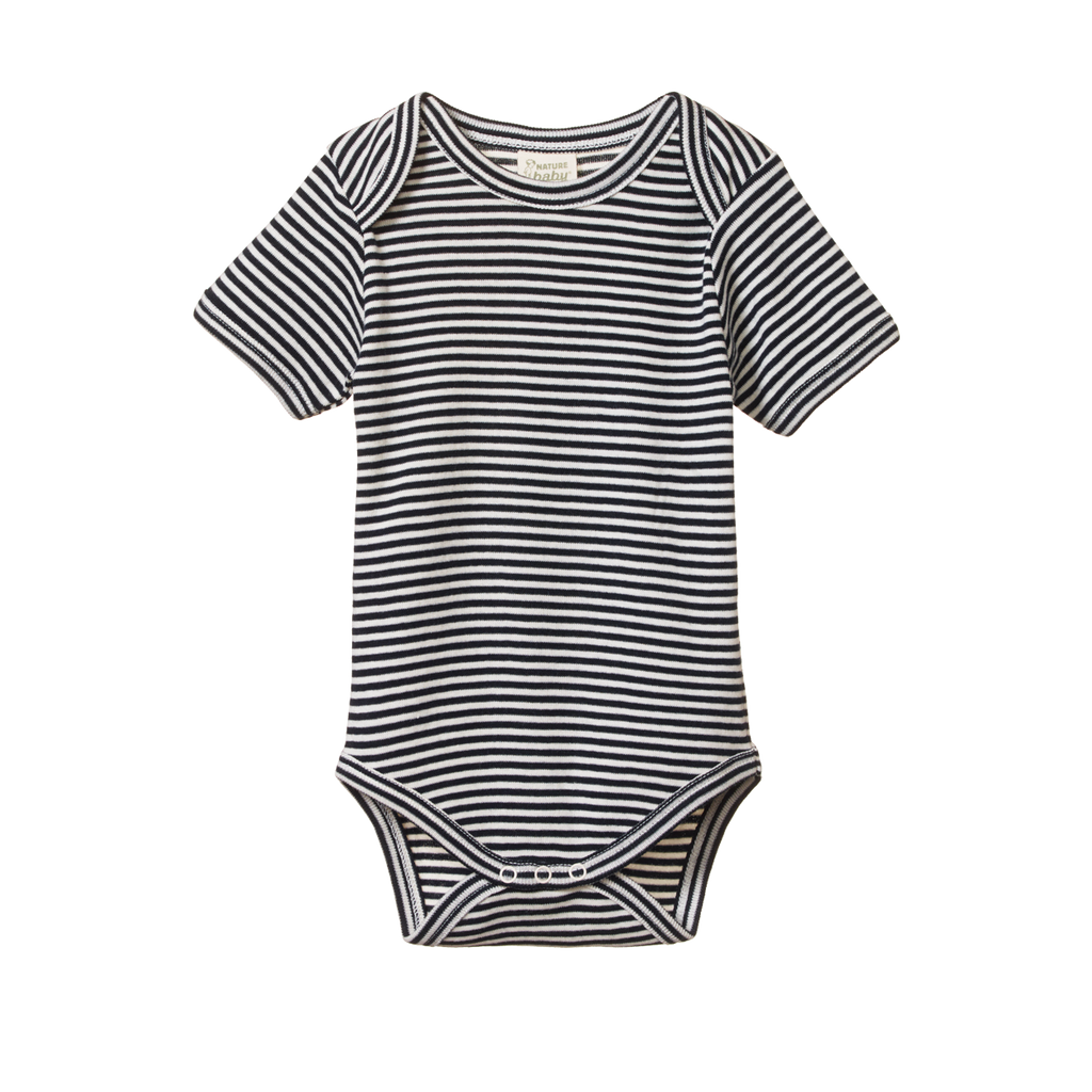 Short Sleeve Bodysuit Navy Stripe