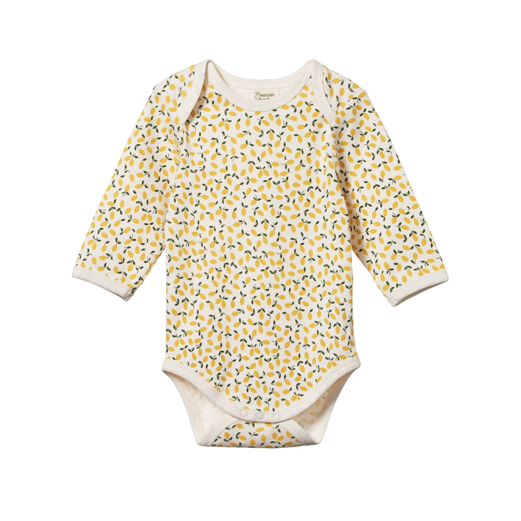 Nature Baby Long Sleeve Bodysuit Lemmony Print - Lila & Huxley