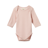Nature Baby Long Sleeve Bodysuit Rose Bud Stripe - Lila & Huxley