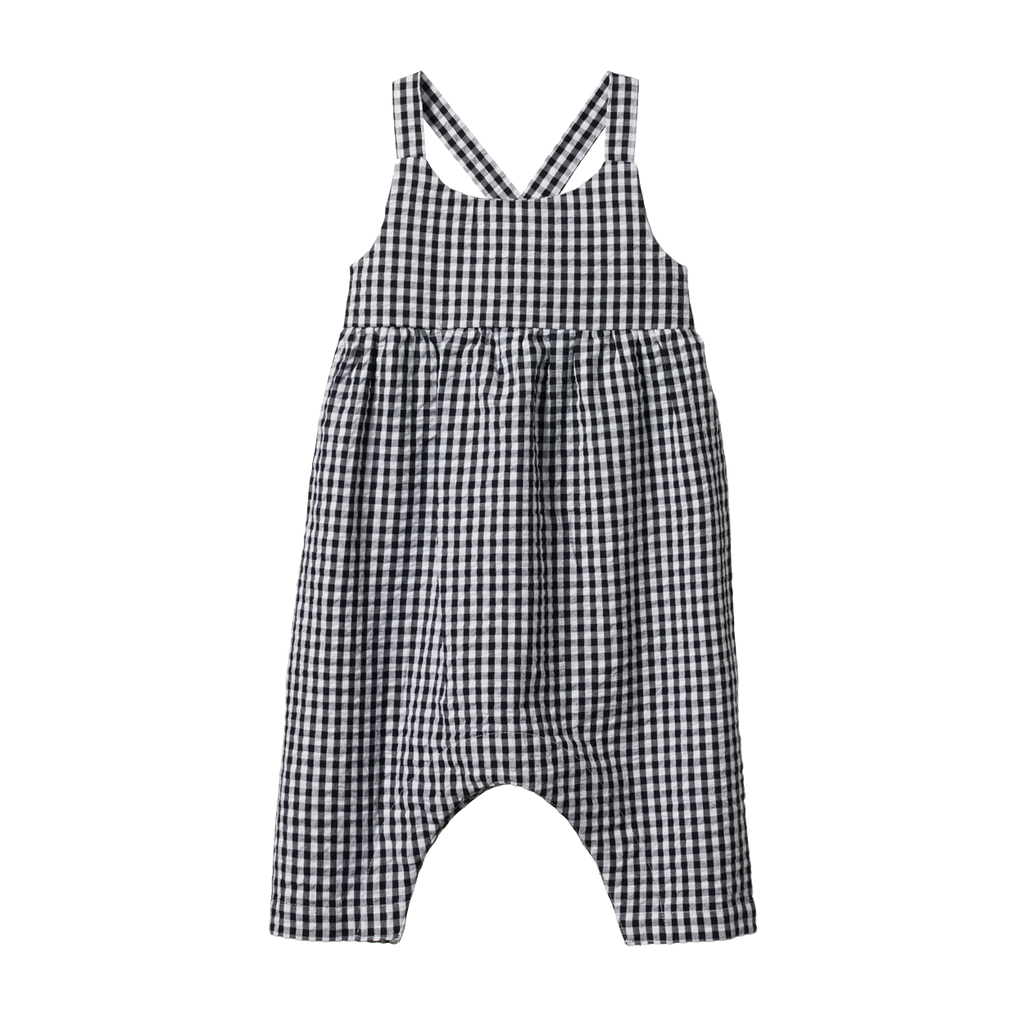 Nature Baby Picnic Suit Navy Check - Lila & Huxley