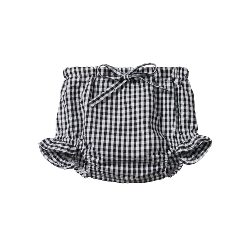 Nature Baby Gingham Petal Bloomers Navy Check - Lila & Huxley