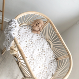 Wild Meadow Bamboo Jersey Bassinet sheet Neutral Petals