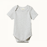 Nature Baby Short Sleeve Bodysuit Grey Marle Stripe - Lila & Huxley