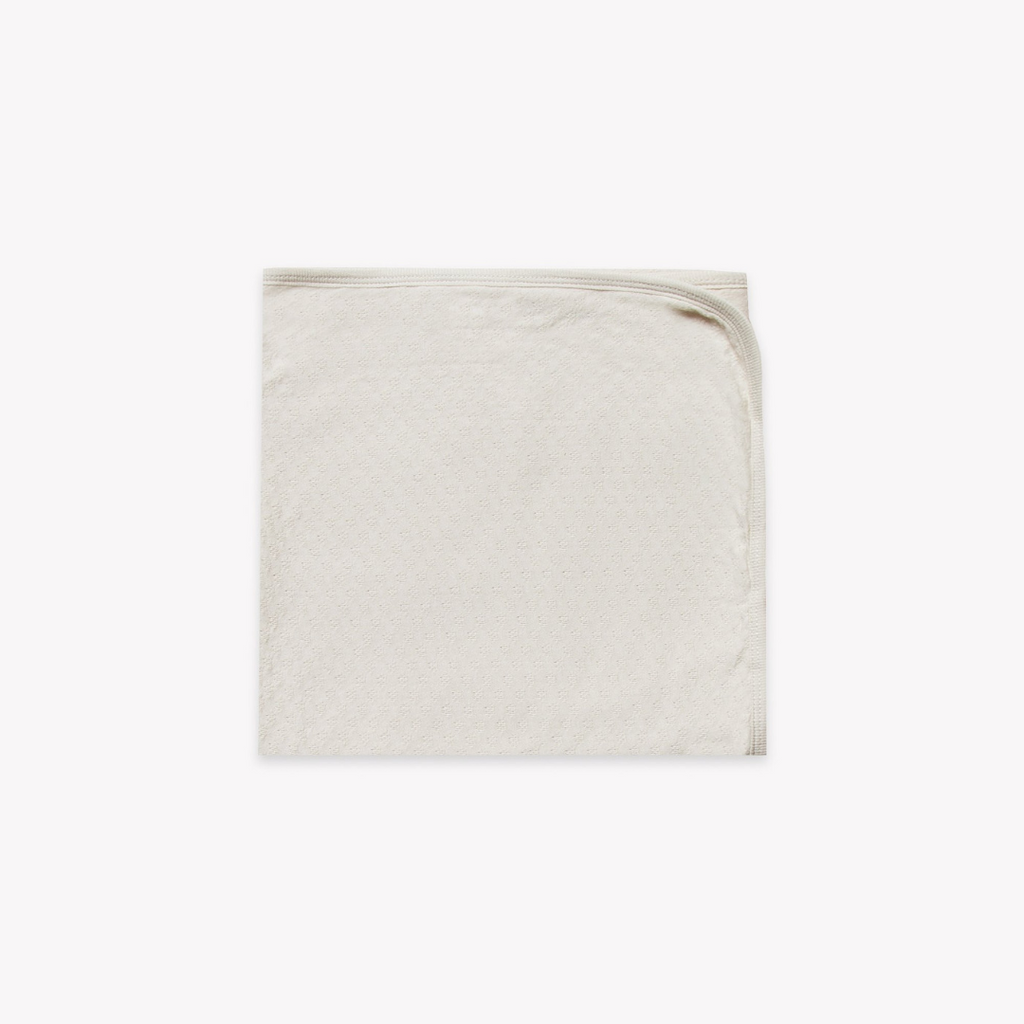 Quincy Mae - Pointelle Baby Blanket Pebble - Lila & Huxley