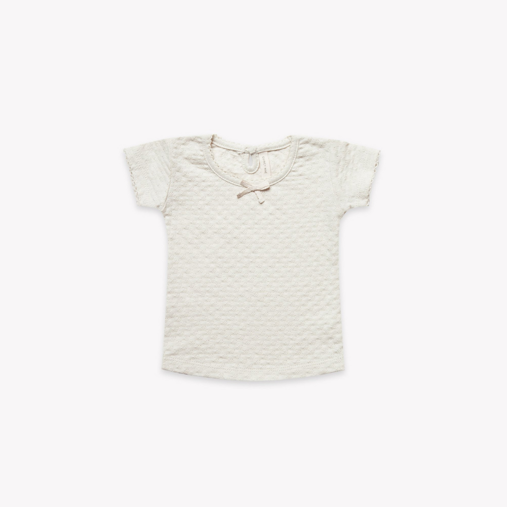 Quincy Mae Pointelle SS Tee Pebble - Lila & Huxley