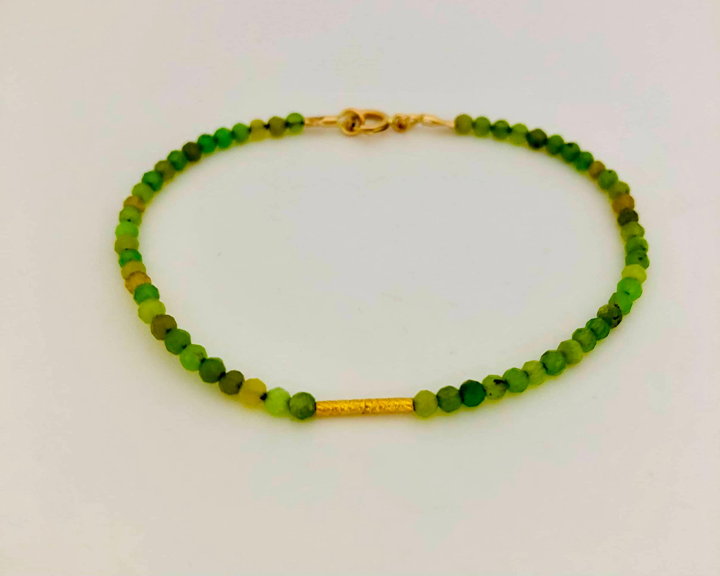 Jade With 18K Gold Rice Bead Bracelet