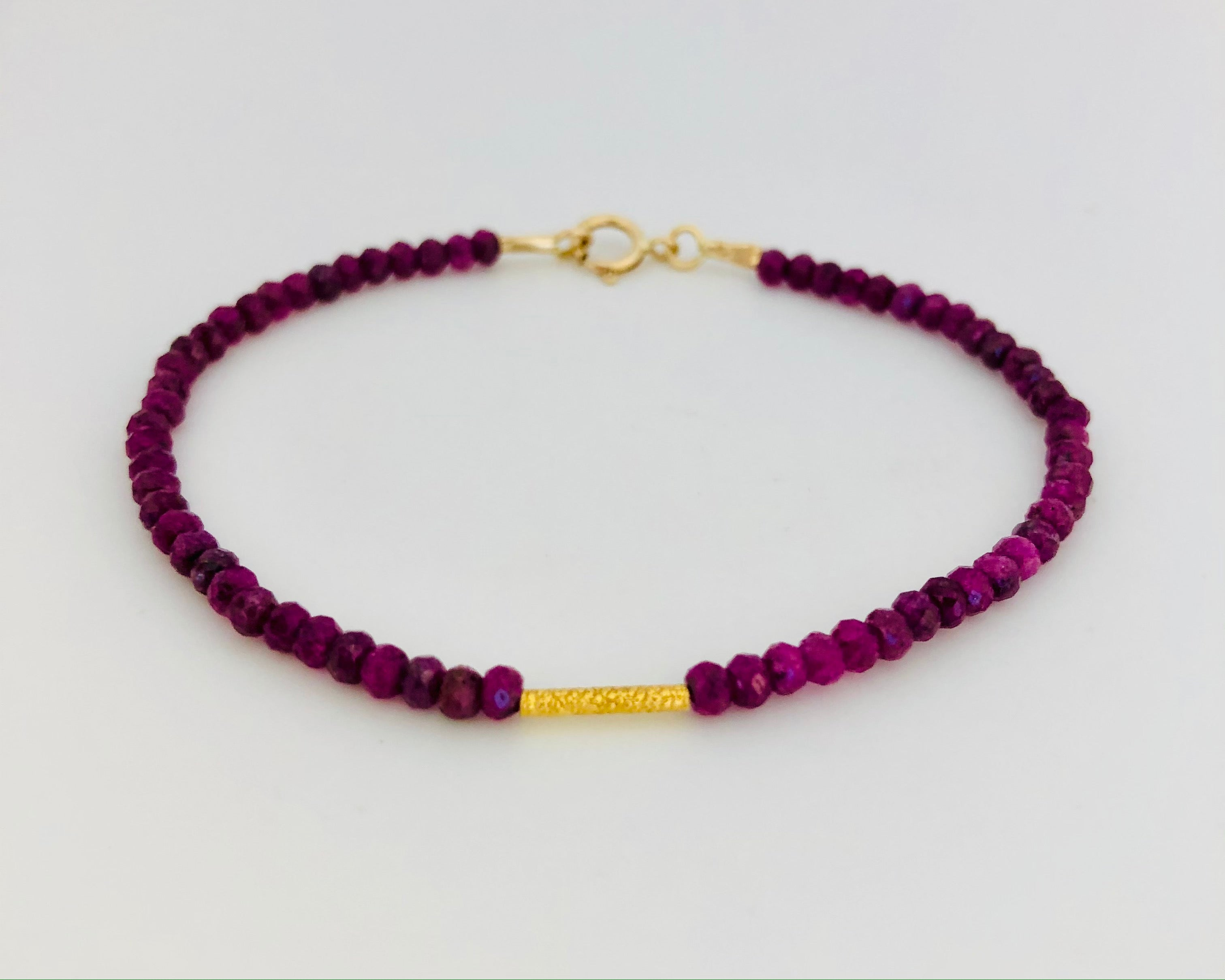 Ruby With 18K Gold Rice Bead Bracelet