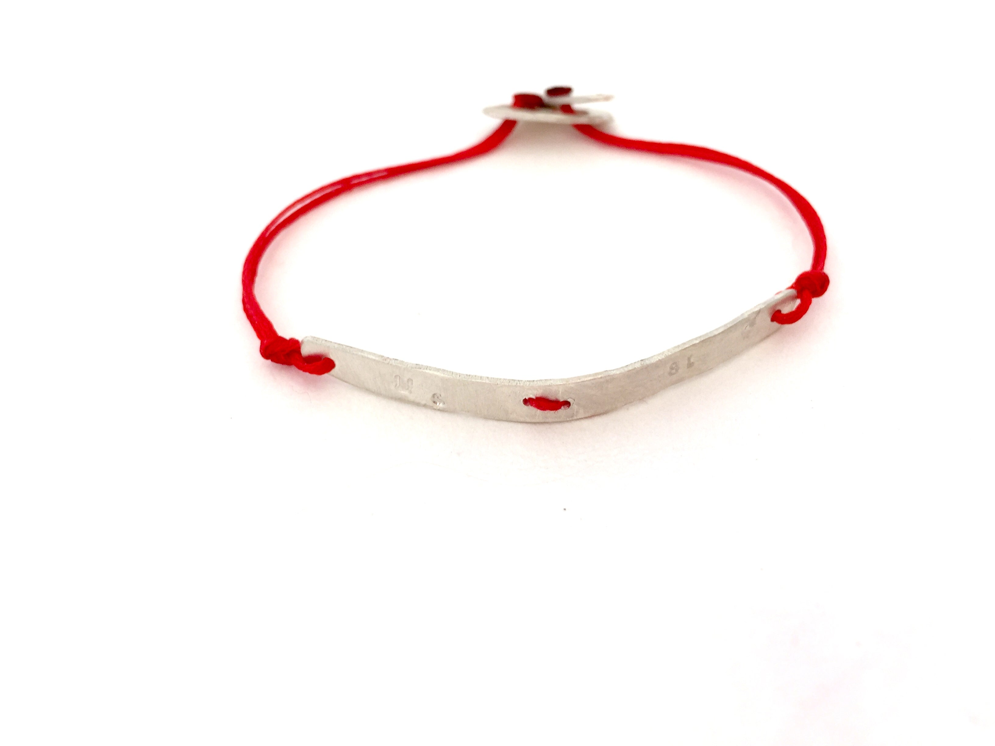 Silver Single Bar Stitched  Bracelet