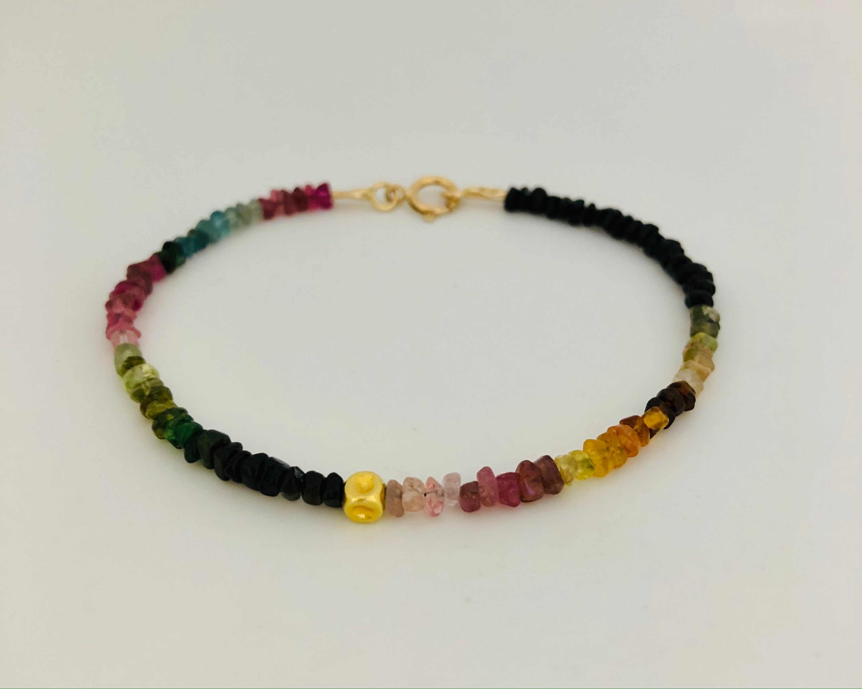 Tourmaline With 14K Gold Bead Bracelet