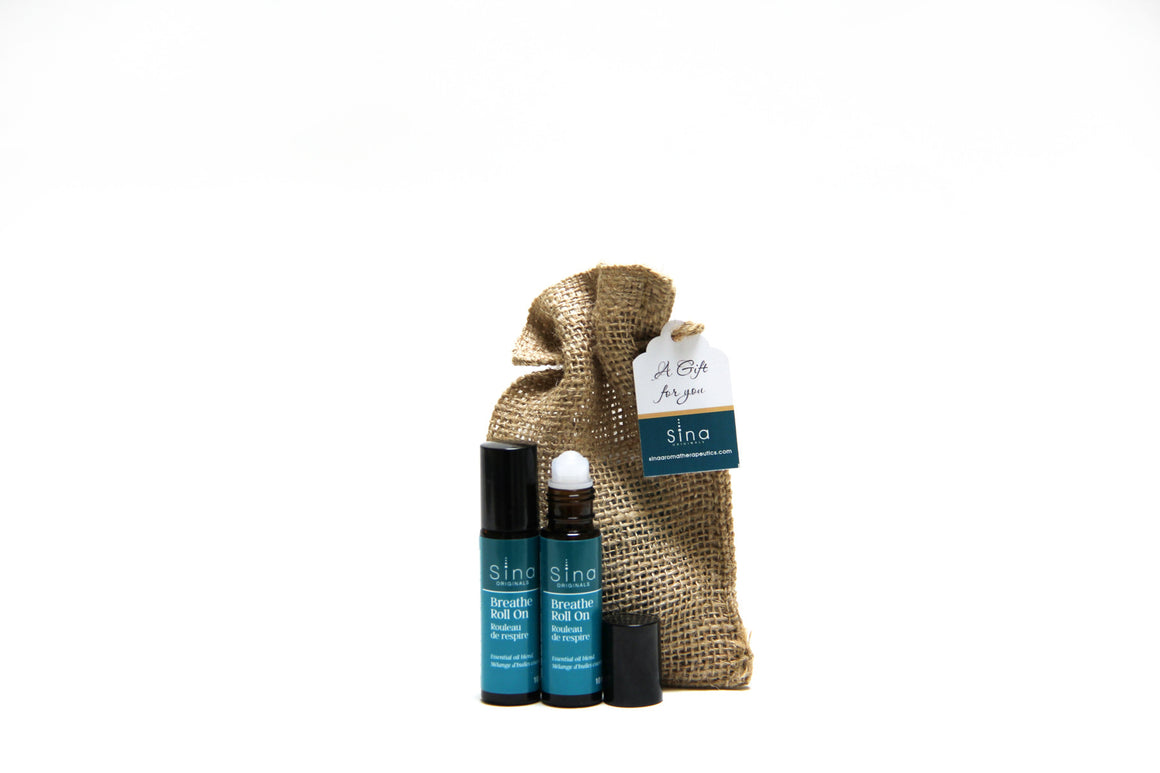 Essential Oils Aromatherapy Roll-on Duo Gift Bag for Relief of lAllergies, Hay Fever and Sinus Congestion
