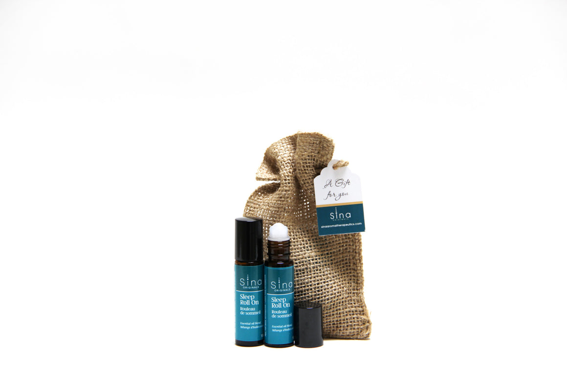 Essential Oils Aromatherapy Roll-on Gift Bag Duo for Relief of Insomnia and Sleeplessness