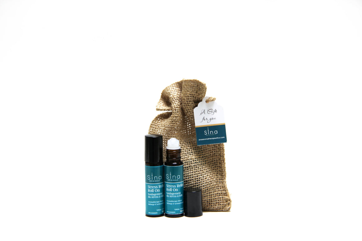 Essential Oils Custom Blend Aromatherapy Roll-on Duo Gift Bag for Stress, Anxiety and Tension Relief