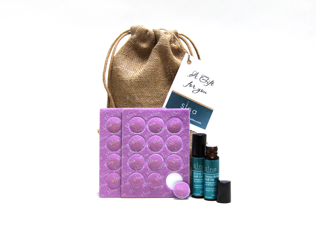 Essential Oils Value Bundle Gift Bag with 2 Roll-0ns and 2 Sheets/24 Patches for Relief of Stress, Anxiety and Tension