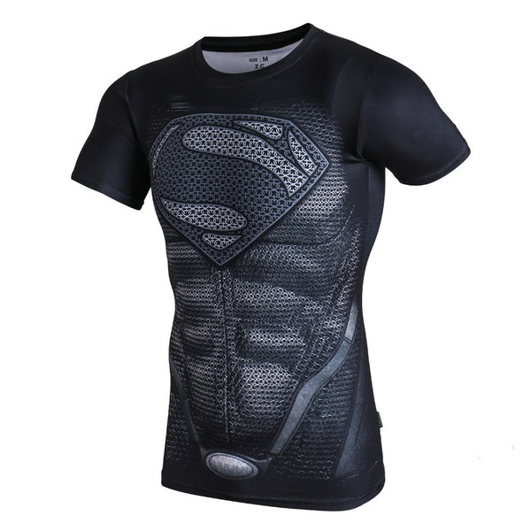 Tee shirt fitness noir logo Superman