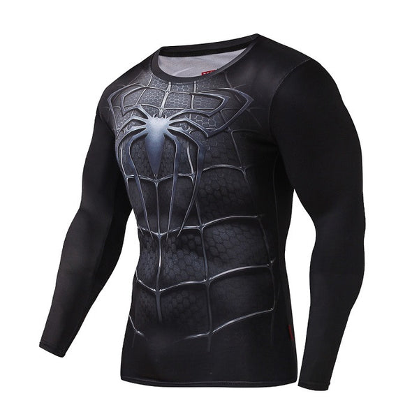 Tee shirt fitness manches longues noir Spider-Man