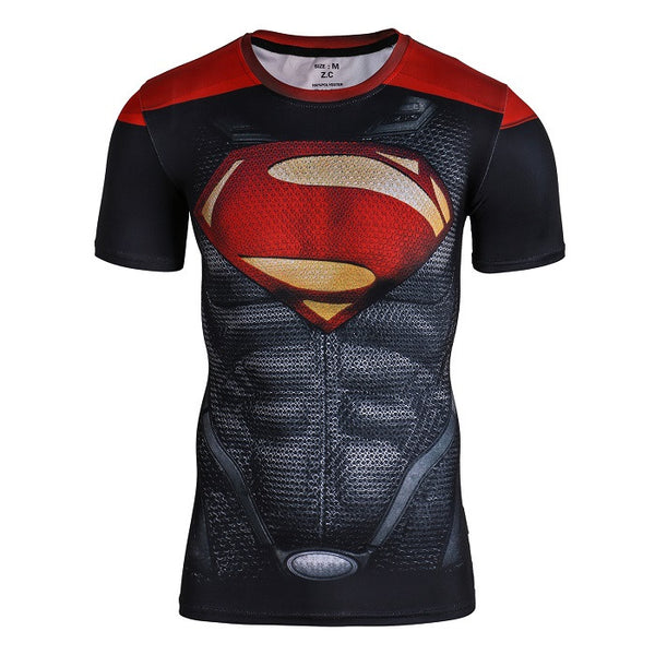 Tee shirt fitness noir et rouge logo Superman