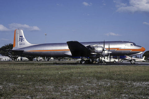 DC.7C flew as N381AA was airworthy when shot at Opa Locka, Fl Apr-01